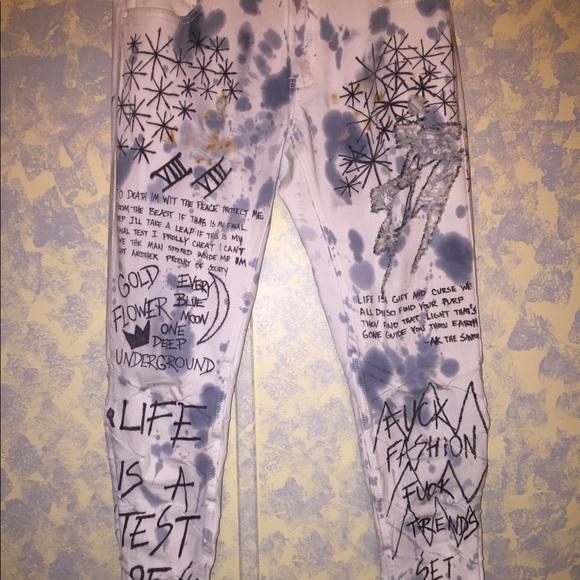 CUSTOM Handmade Painted Jeans